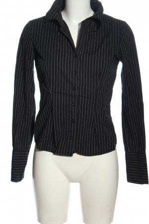 Amisu Langarmhemd schwarz-weiß Streifenmuster Business-Look