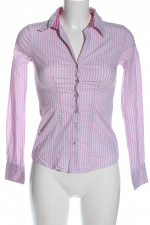 Amisu Langarmhemd pink-weiß Allover-Druck Casual-Look