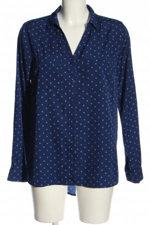 Amisu Langarmhemd blau-weiß Allover-Druck Casual-Look