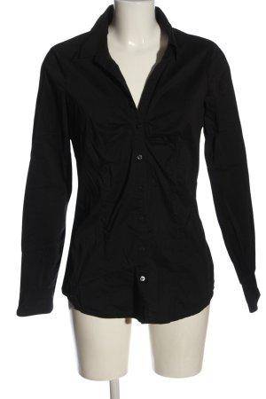Amisu Koszula z długim rękawem czarny W stylu biznesowym