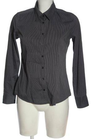 Amisu Langarmhemd schwarz-weiß Streifenmuster Casual-Look
