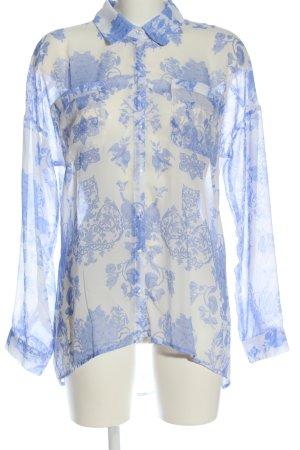 Amisu Langarmhemd weiß-blau Allover-Druck Casual-Look