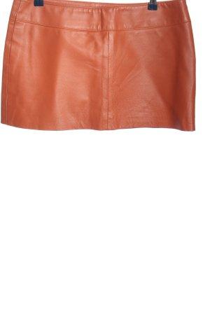 Amisu Leather Skirt light orange wet-look