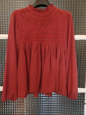 Amisu Leicht transparente Bluse [Dunkelorange, Gr. S]