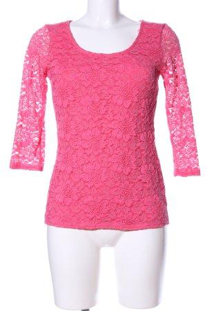 Amisu Longshirt pink Blumenmuster Elegant