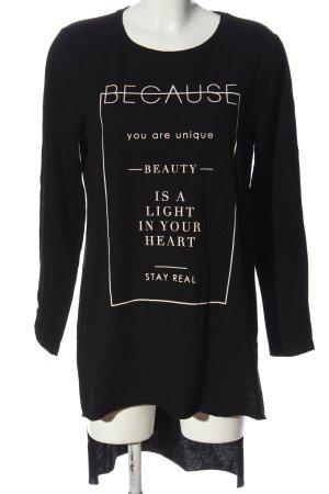Amisu Longshirt schwarz-weiß Motivdruck Casual-Look