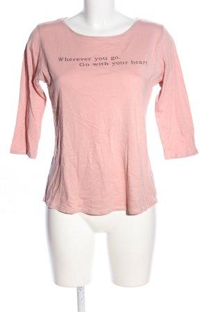 Amisu Top à manches longues rose-noir lettrage imprimé style décontracté
