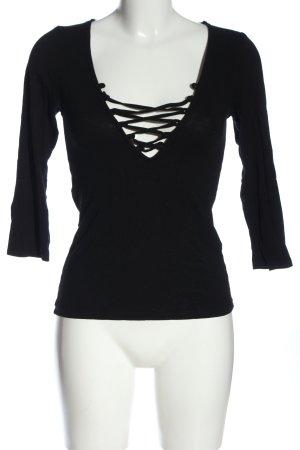 Amisu Koszulka z długim rękawem czarny W stylu casual