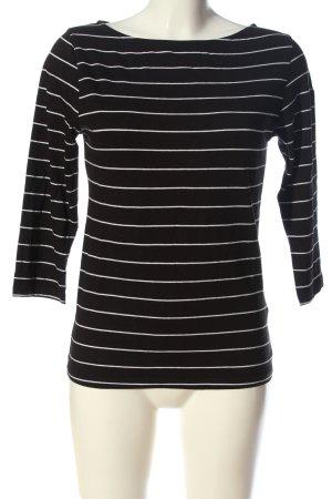 Amisu Longsleeve schwarz-weiß Streifenmuster Casual-Look