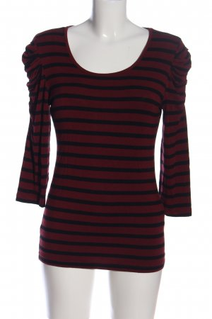 Amisu Koszulka z długim rękawem czerwony-czarny Wzór w paski W stylu casual