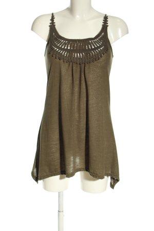 Amisu Długi top khaki W stylu casual