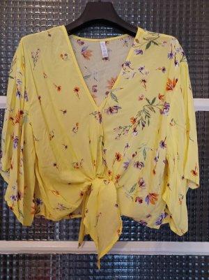 Amisu Luftige Damenbluse [Gelb mit bunten Blumen, Gr. L]