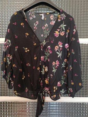 Amisu Luftige Damenbluse [Schwarz mit bunten Blumen, Gr. L]