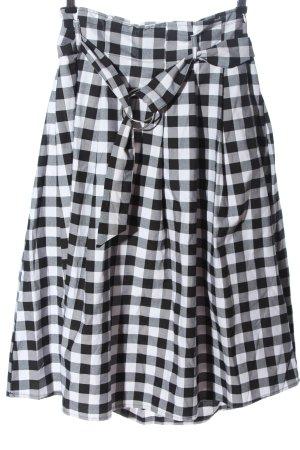 Amisu Spódnica midi biały-czarny Wzór w kratkę W stylu casual