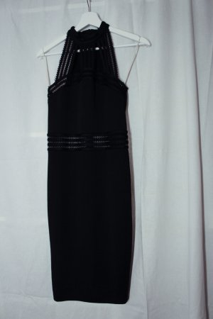 Amisu Mini-Kleid, schwarz, Cut-Outs unterlegt mit netzartigem Stoff