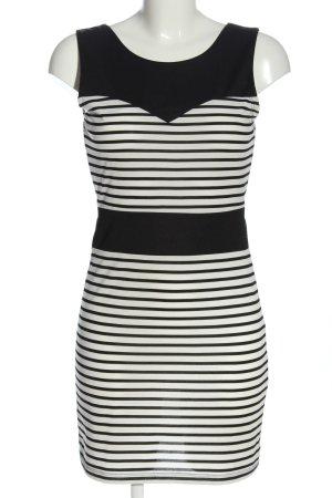Amisu Mini-jurk zwart-wit gestreept patroon casual uitstraling