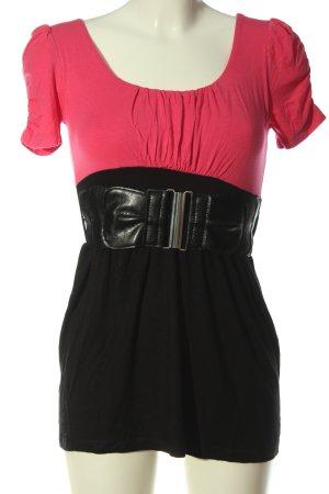 Amisu Longshirt schwarz-pink Elegant