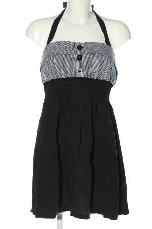 Amisu Minikleid schwarz-weiß Karomuster Casual-Look