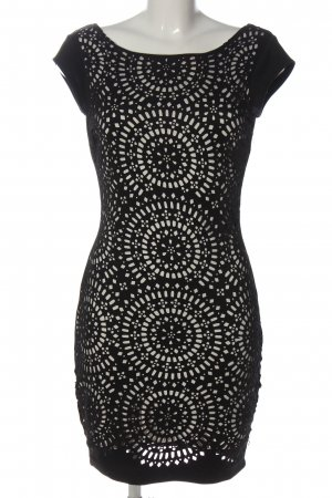 Amisu Mini-jurk zwart-wit volledige print casual uitstraling