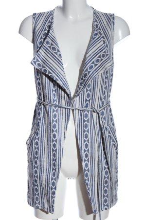 Amisu Strickweste blau-weiß abstraktes Muster Casual-Look