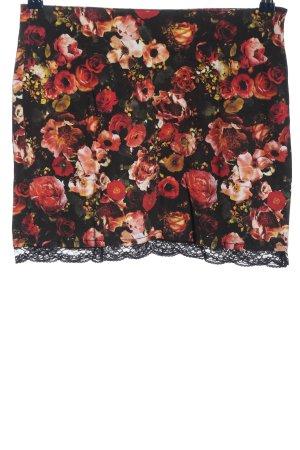 Amisu Minirock schwarz-rot Allover-Druck klassischer Stil