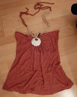 Amisu Neckholdertop Neckholdershirt Neckholder Top Shirt mit Halskette