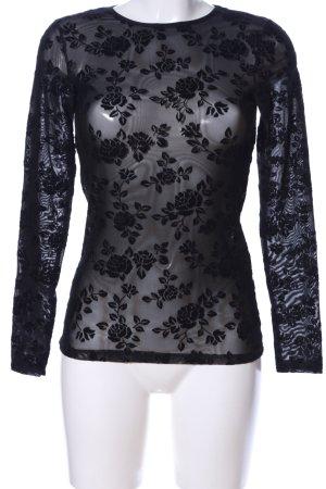 Amisu Netzshirt schwarz Blumenmuster Elegant
