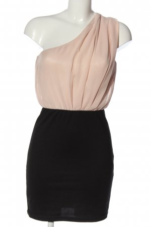 Amisu One-Shoulder-Kleid pink-schwarz Casual-Look
