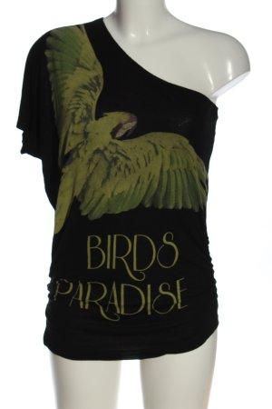Amisu Camisa de un solo hombro negro-verde estampado temático look casual