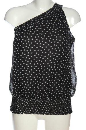 Amisu Top monospalla nero-bianco stampa integrale stile casual