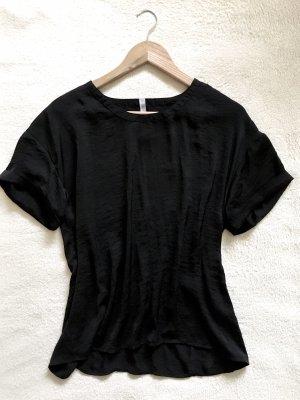 Amisu Oversize Seiden Shirt Bluse schwarz Gr. S