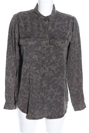 Amisu Oversized Bluse braun-schwarz Allover-Druck Casual-Look