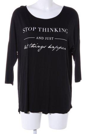Amisu Oversized Shirt schwarz-weiß Schriftzug gedruckt Casual-Look