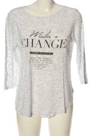 Amisu Koszulka z nadrukiem biały Melanżowy W stylu casual