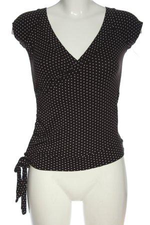 Amisu Print-Shirt schwarz-weiß Punktemuster Casual-Look