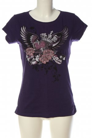 Amisu Koszulka z nadrukiem fiolet Nadruk z motywem W stylu casual