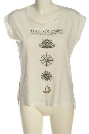 Amisu Print-Shirt creme-hellgrau Motivdruck Casual-Look