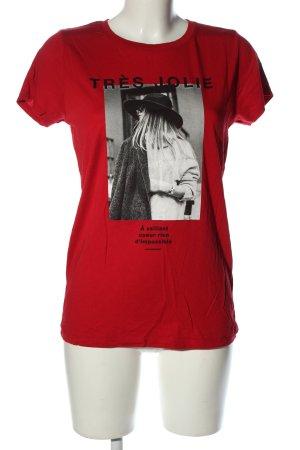 Amisu Camiseta estampada rojo estampado temático look casual
