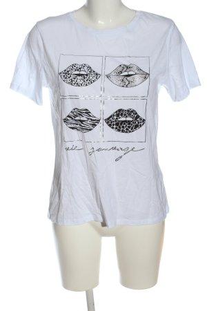 Amisu Print-Shirt weiß-schwarz Motivdruck Casual-Look