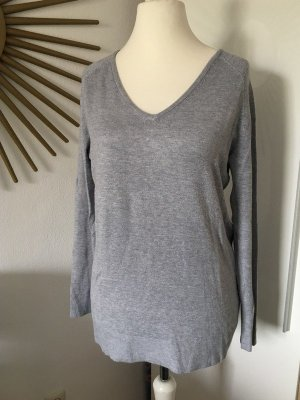 Amisu Pullover grau mit V-Ausschnitt, schlicht und weicher angenehmer Stoff Gr. M