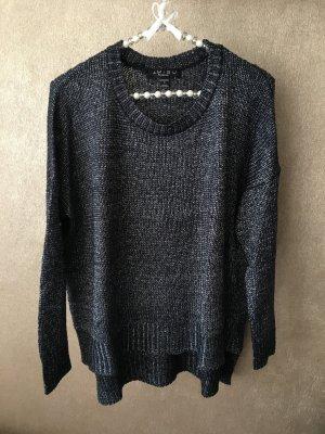 Amisu Grof gebreide trui blauw-zilver