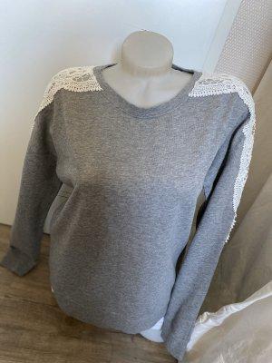 Amisu Pullover Sweatshirt Gr.M 38 Spitze grau
