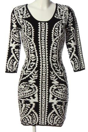Amisu Abito maglione nero-bianco motivo astratto stile casual