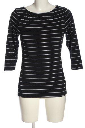 Amisu Ringelshirt schwarz-weiß Streifenmuster Casual-Look