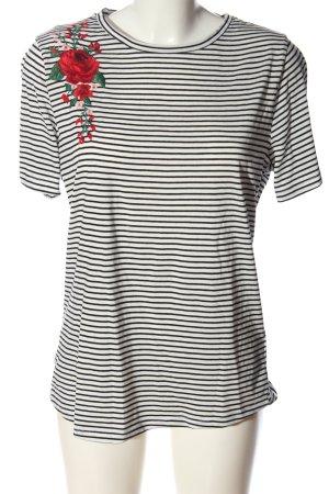 Amisu Camisa de rayas blanco-negro estampado repetido sobre toda la superficie
