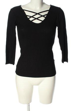 Amisu Geribd shirt zwart casual uitstraling