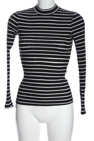 Amisu Chemise côtelée noir-blanc motif rayé style décontracté