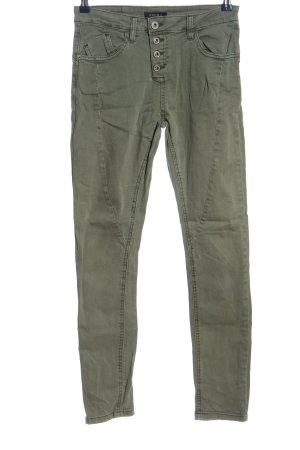 Amisu Jeans cigarette kaki style décontracté