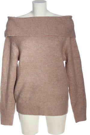Amisu Pull tricoté brun moucheté style décontracté