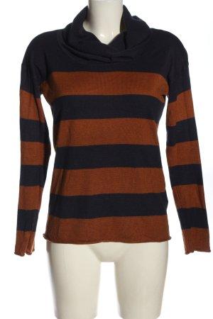 Amisu Sweter z golfem czarny-brązowy Wzór w paski W stylu casual
